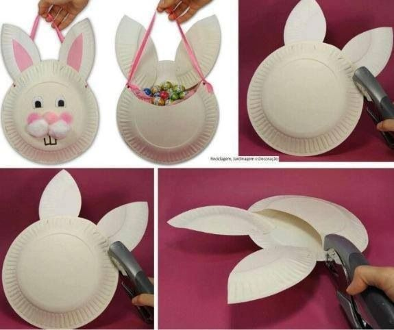 Paper Plate Bunny Baskets