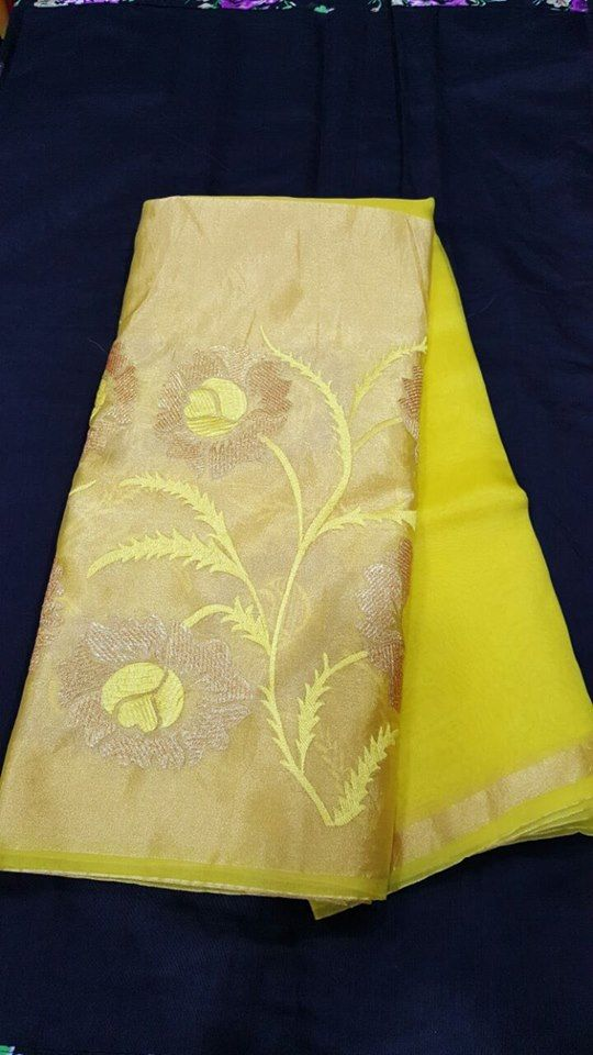 Pure Organza Sarees with kaddi Floral embroidery.| Buy Online Sarees | Elegant Fashion Wear