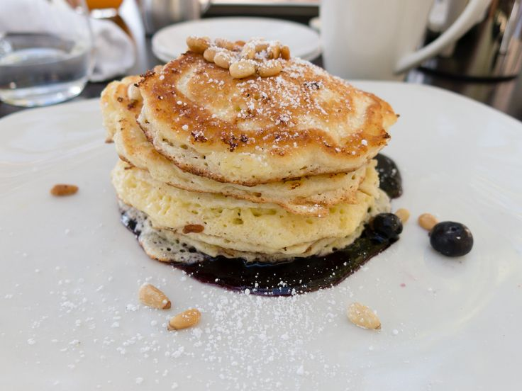 """Lemon-Ricotta Pancakes with Blueberry Syrup"", Solbar Restaurant, Calistoga"