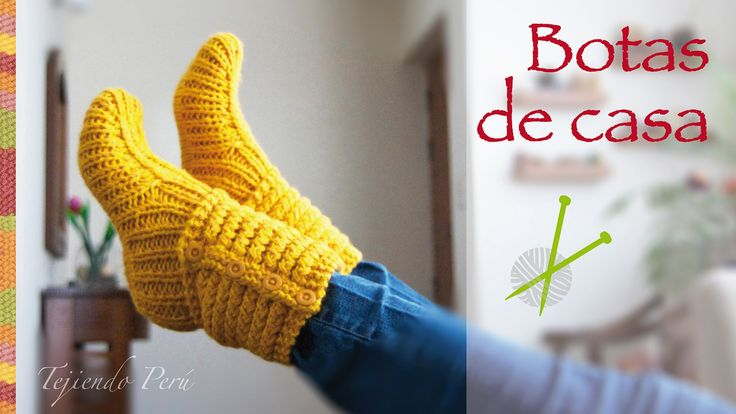 Tejer paso a paso: Botas de casa tejidas en dos agujas o palitos en punt...