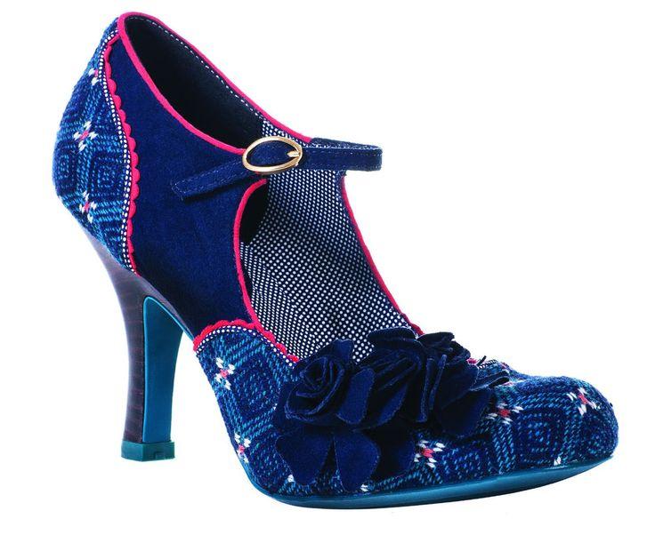 Ruby Shoo Womens Ashley Blue Faux Suede Smart Court Shoe