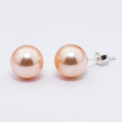 Swarovski Pearl Earrings 10mm Peach  Dimensions: length: 2,2cm pearl size: 10mm Weight ~ 3,30g ( 1 pair ) Metal : sterling silver ( AG-925) Stones: Swarovski Elements 5818 10mm Colour: Crystal Peach Pearl 1 package = 1 pair Price 9.90 PLN( about`2,5 EUR)