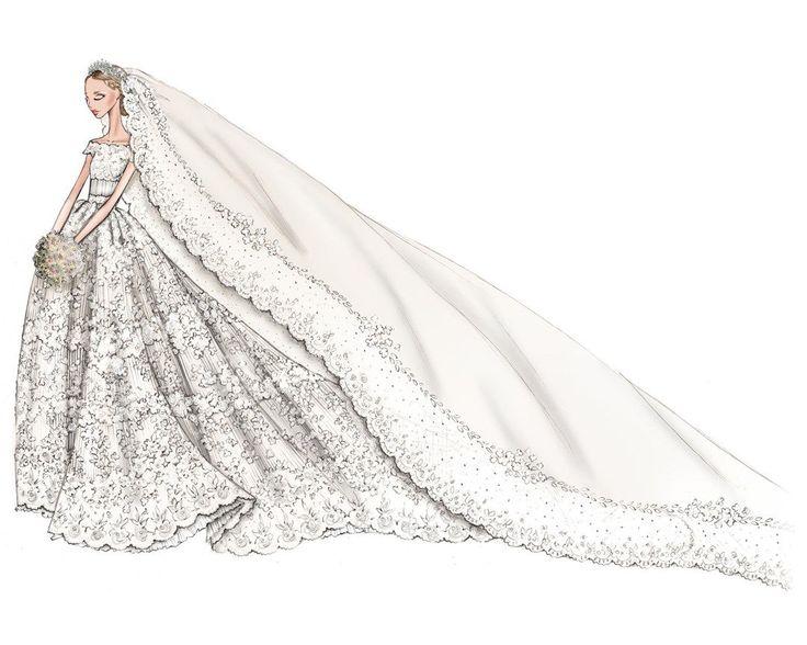 Así fue el #boceto de #Valentino del vestido de #novia de Magdalena de Suecia