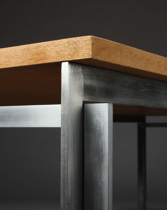 Poul Kjærholm, work desk, model PK-55. Designed in 1957 and manufactured by E. Kold. Christiansen, Denmark. Pinewood top and satin brushed stainless steel frame.