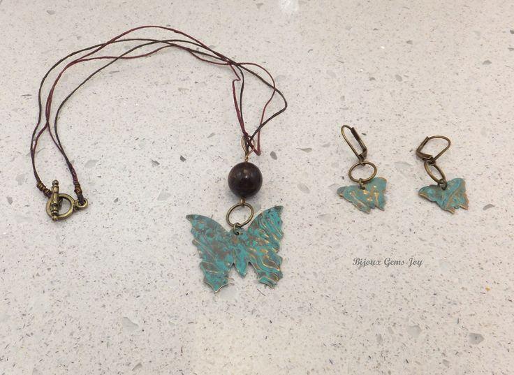 Pendant & Earrings, On Wings, Bronzite, Brass with Patina by BijouxGemsJoy on Etsy