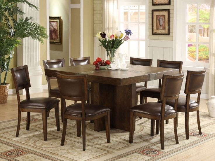 Square Dining Room Table Set For 8