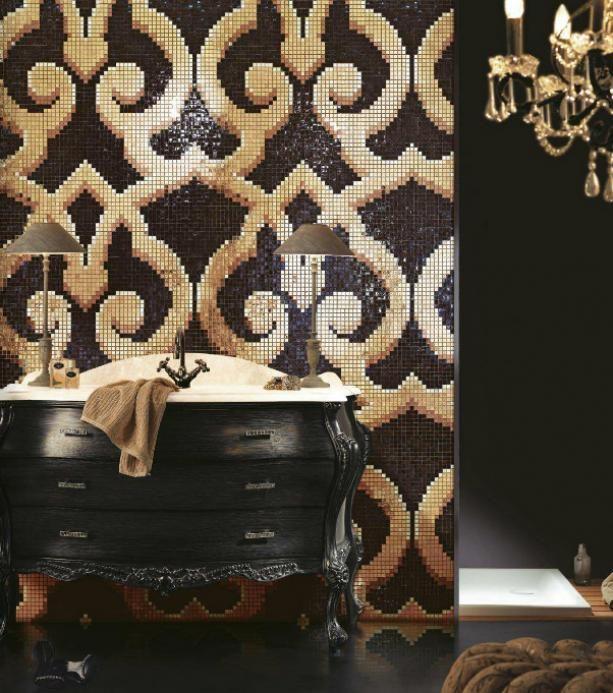 Mozaika w odcieniu czerni i złota z bogatym barokowym ornamentem cheviot