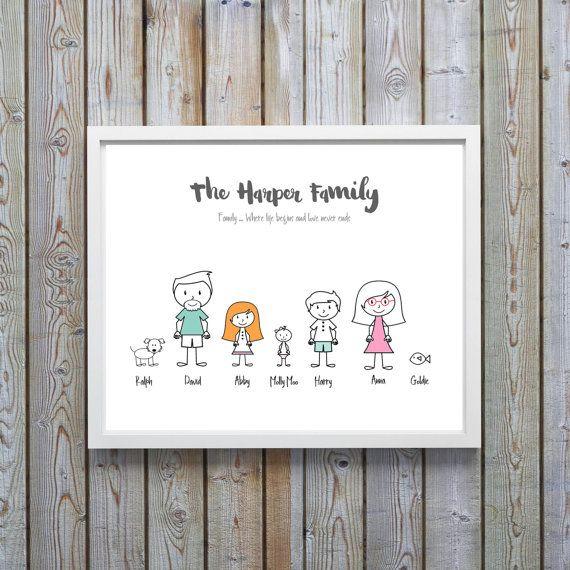 Cartoon Family Print, Cartoon Family Portrait, Personalised Family Print, Personalized Family Print, Mothers Day gift for Grandma, Motto