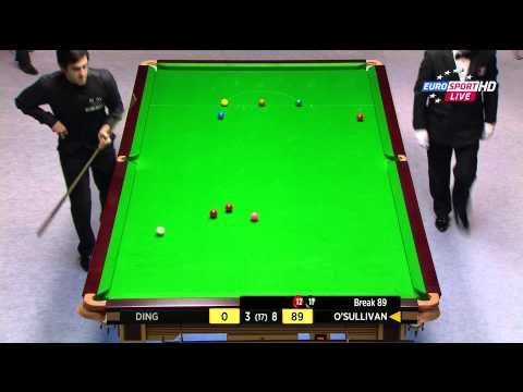 Ronnie O'Sullivan 12th MAXIMUM 147 Final Frame Final Welsh Open 2014. Pots the most difficult ball (en the last one) with his left. Just because he can.