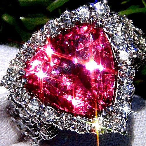 Natural Pink Tourmaline And Diamond 14k White Gold Engagement Ring!!!