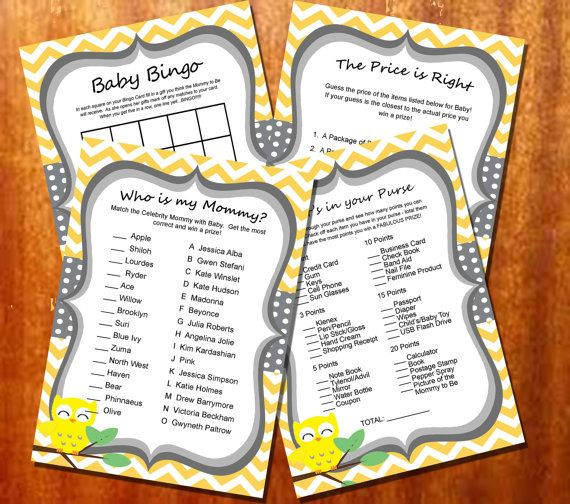 Yellow Chevron  and Owl Baby Shower Games INSTANT DOWNLOAD Printable - DIY Yellow Grey Owl