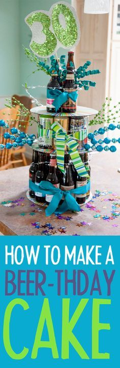 Have a beer lover in your life? Then this birthday beer cake is a great gift! Learn how to make a birthday beer cake tower.