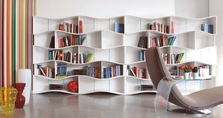 Furniture, Inexpensive Scandinavian Bookshelves With Charmingly Design Awesome Home Library Design With Unique Wooden Wall Shelves In White Lacquer Finishing Plus Brown Fabric Lounge Sofa Also Curved Glass Coffee Table
