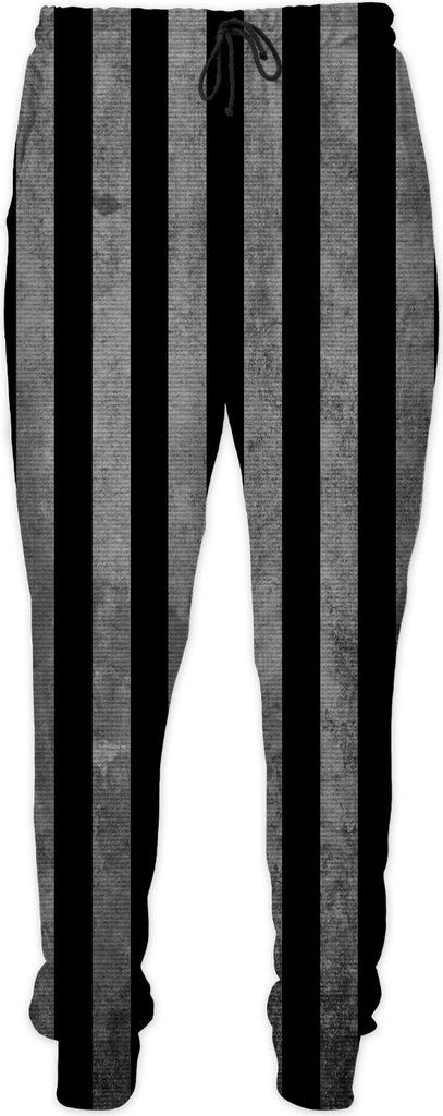 Beetlejuice suit like jogging pants, black and white vertical stripes pattern, halloween style clothing, classic movie themed design, very dark version, cool joggers - item printed at www.rageon.com/a/users/casemiroarts - also available at www.casemiroarts.com #joggers #pants #halloween #costume #wornout #look #jogging #party #style