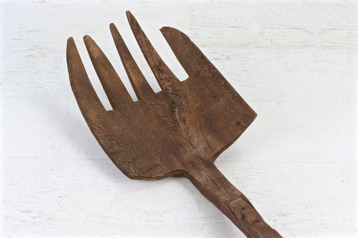 Primitive Wood Pitch Fork, Rustic Pitch Fork, Vintage Pitch Fork, Fork, Vintage Wooden Pitch Fork, Wood Rake, Rake, Primitive Pitch Fork by HuntandFound on Etsy