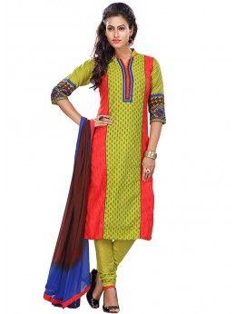 Olive Green And Red Printed Cotton Silk Salwar Kameez