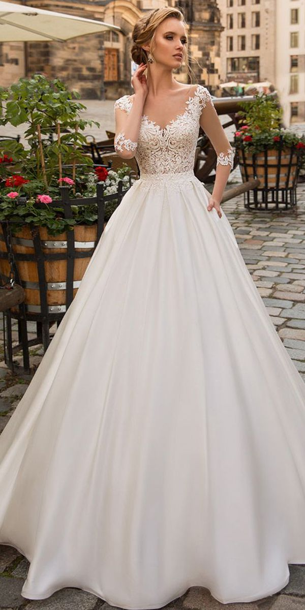 Modest Tulle & Satin Scoop Neckline A-line Wedding Dress With Lace Appliques & Beadings & Pockets