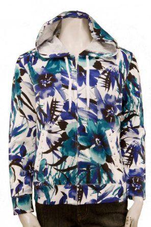 Misses Floral Print Zip Up Hoodie $19.99