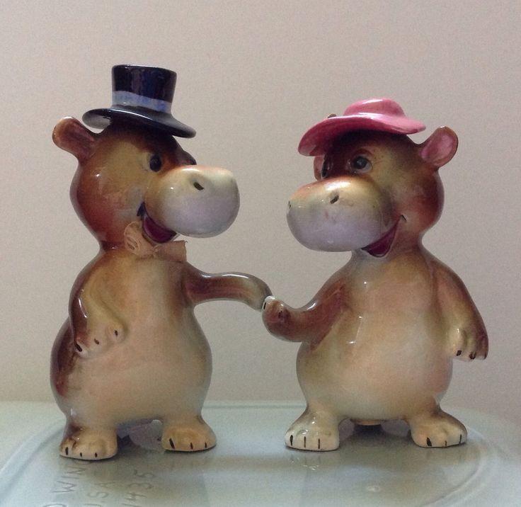 Adorable Vtg Norcrest Japan Hippo Salt Pepper Shakers Mr. And Mrs Hippopotamus | eBay
