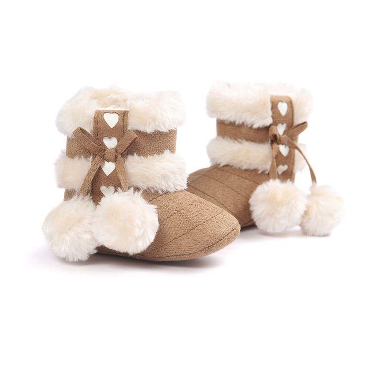 2016 Leuke Bal Winter Laarzen Mode Zachte Bodem Baby Mocassin Baby Babyschoenen Baby Warm Laarzen antislip Laarzen voor Baby meisjes