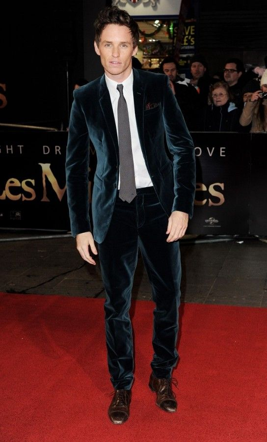 Eddie Redmayne in Burberry Prorsum..could any other man get away with wearing a blue velvet suit?