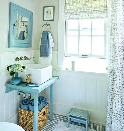 Small blue bathroom with a vintage farmhouse sink, wall-mounted faucet, and mirror with built-in medecine cabinet