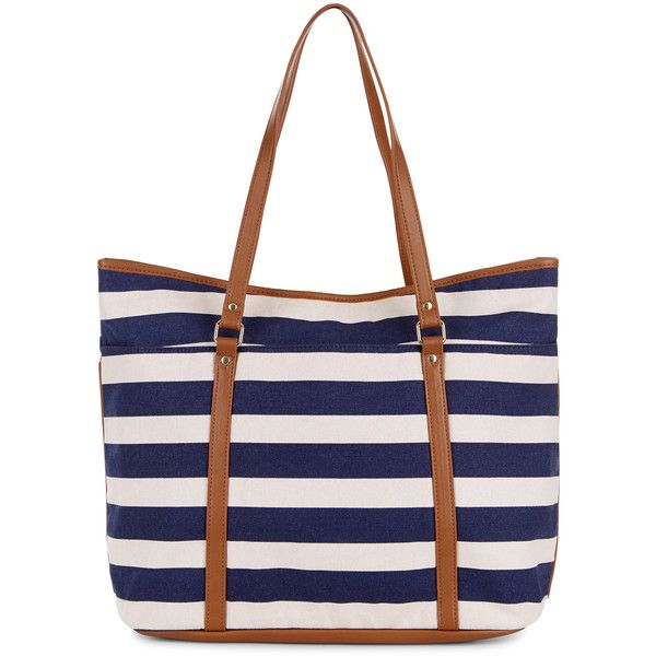 Accessorize Stripe Beach Tote Bag ($44) ❤ liked on Polyvore featuring bags, handbags, tote bags, totes, tote handbags, zip tote, vegan tote bag, faux leather tote and vegan tote