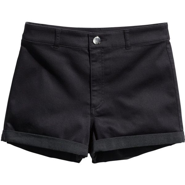 H&M Shorts High waist (£4) ❤ liked on Polyvore featuring shorts, bottoms, black, pants, high-rise shorts, high rise shorts, high-waisted shorts, h&m shorts and high waisted shorts