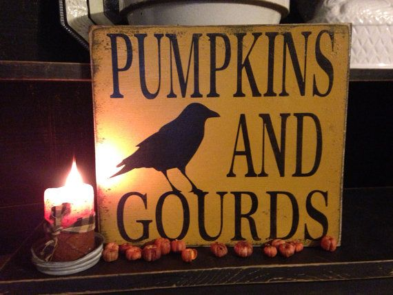 Primitive Fall Pumpkins And Gourds Crow Rustic Wood Sign on Etsy, $21.00
