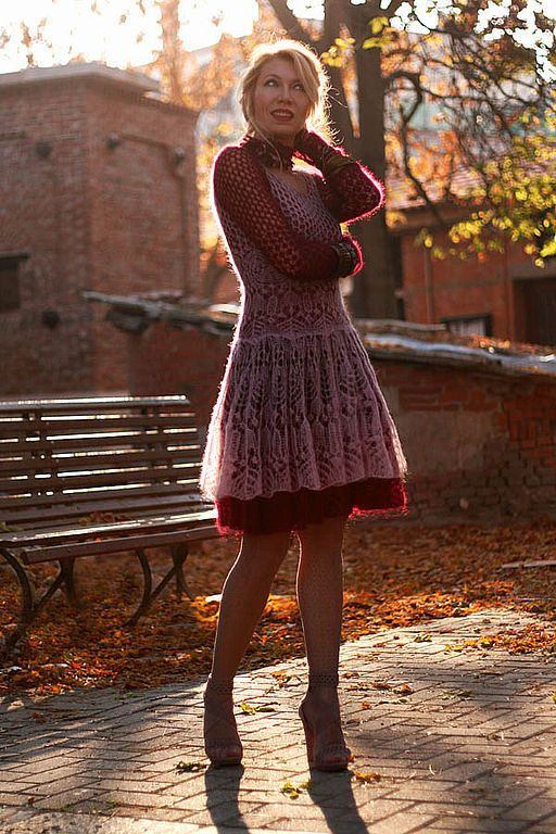 Изабелла - мохер,ажурное платье,супер кид мохер,вязаное спицами платье