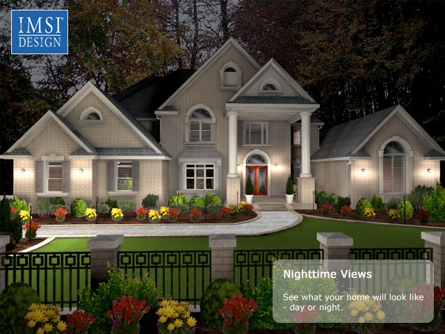 Nighttime View Of A House Design Turbofloorplan 3d Home Landscape Pro Easy