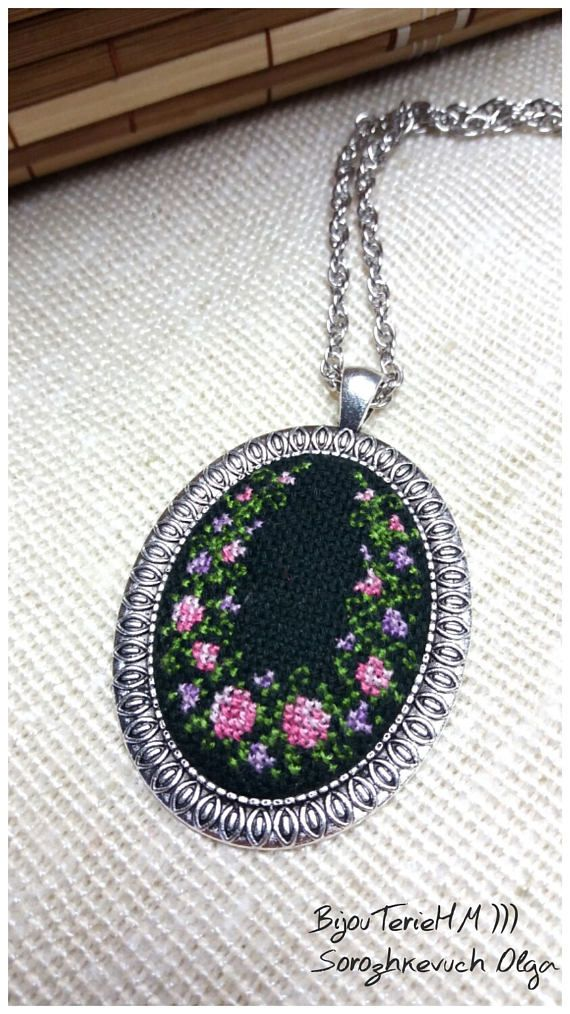Cross stitch necklace. Cross stitch pendant. Embroidered
