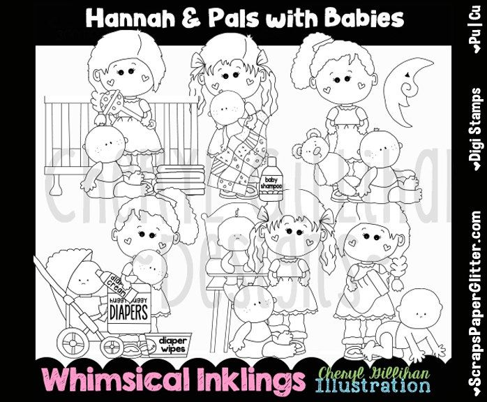 Hannah Pals Babysit Digital Stamps, Black and White Image, Graphic, Commercial Use, Instant Download, Line Art, Baby, Babies, Kids, Nanny by ResellerClipArt on Etsy