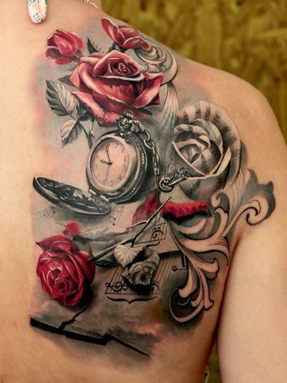 Beautiful details in this Rose and watch tattoo