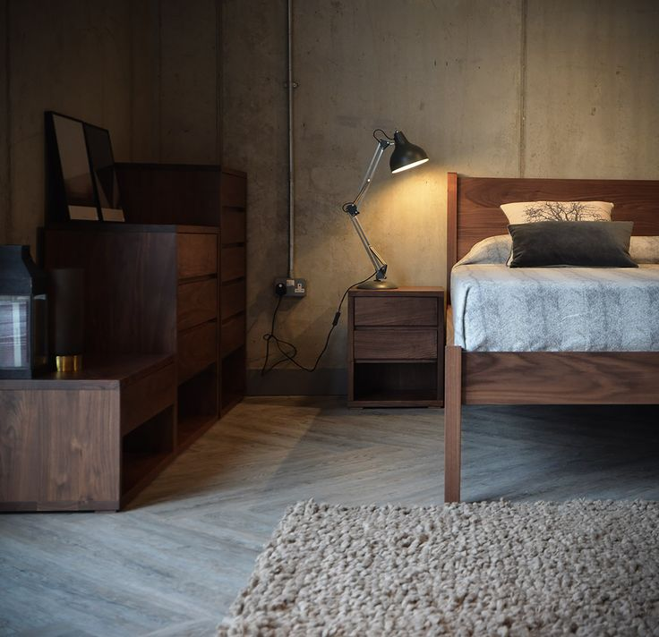 Cosy neutral bedding - add warmth with walnut furniture. All from Natural bed Company
