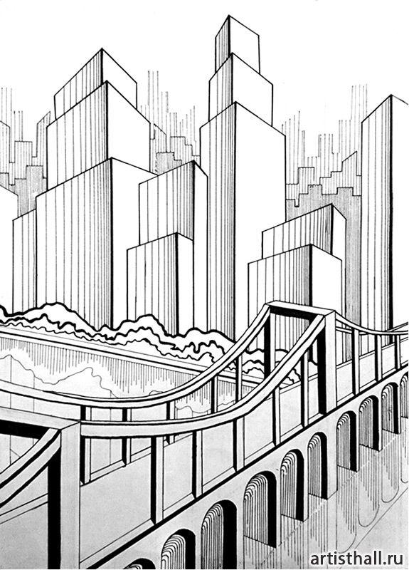 Вариант выполнения композиции в графике -1 #art #design #draw #композиция #графика #мегаполис #artworkshop #artisthall