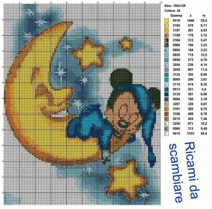 Topolino che dorme sulla luna