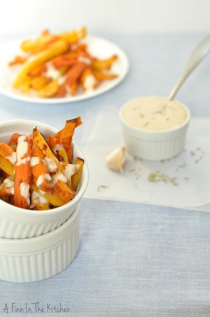 Root Vegetable Fries with Garlic Rosemary Aioli
