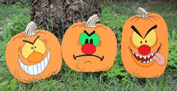 Set of 3, Silly Face Pumpkins Halloween Yard Art