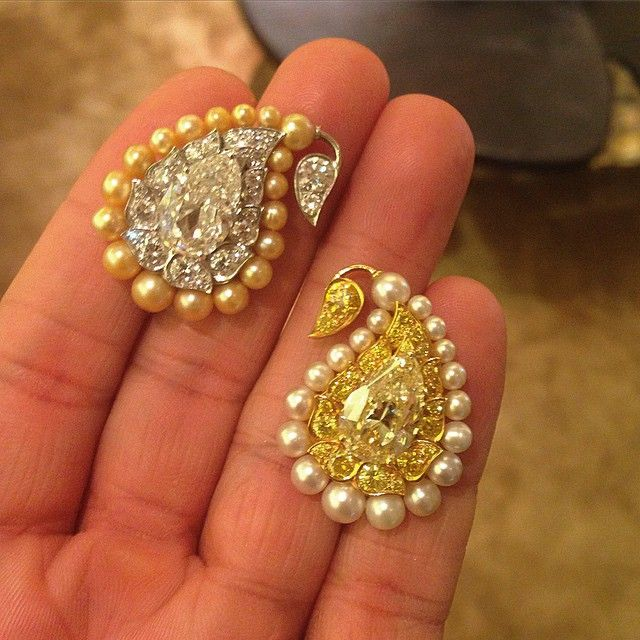 Remembering these BHAGAT Natural Pearl and Diamond Paisley Ear Clips, c.2010 #BhagatJewels #FDGallery #FDGallery_SOLD