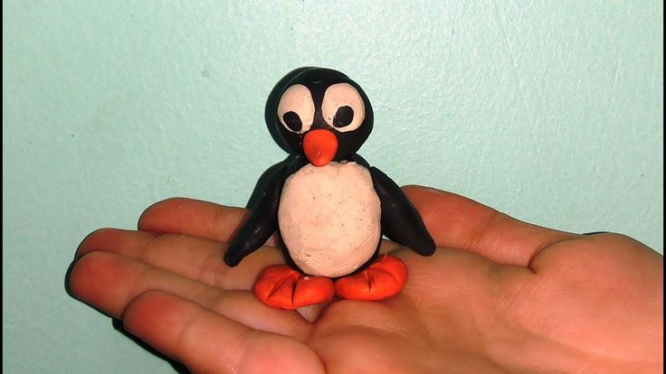 Пингвин. Поделка из пластилина. Craft penguin from plasticine.