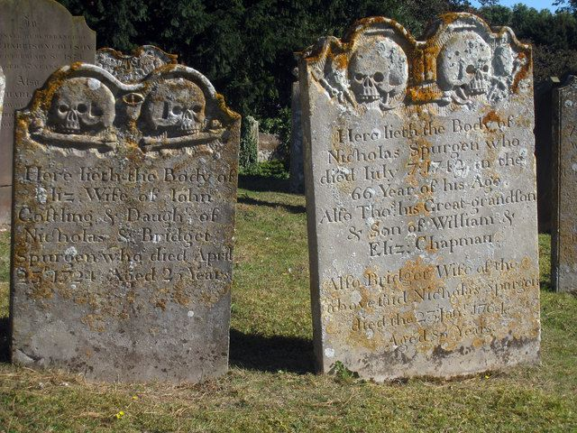 Creepy Headstones at St Peter & St Paul's Church near to Boughton Street, Kent, Great Britain