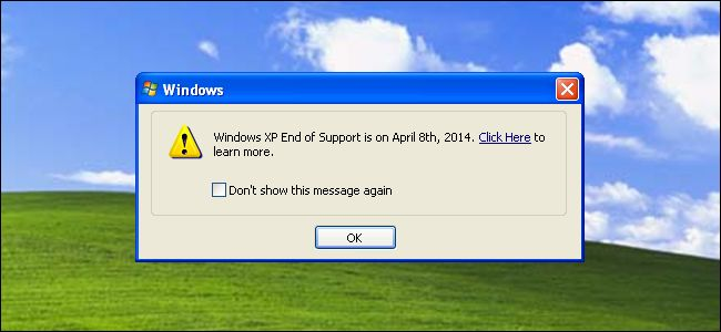 Microsoft won't be releasing new security patches for Windows XP come April 8th, 2014, and they're making sure all Windows XP users know it. You're on your own after this point — no more security updates for Windows XP! The Windows XP End of Support pop-up will appear once per month, starting March 8. http://www.howtogeek.com/184137/windows-xp-end-of-support-is-on-april-8th-2014-why-windows-is-warning-you/