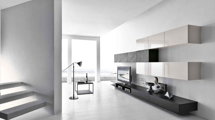 Modern TV Wall Unit Comp. 224 by Presotto, Italy from ModulART collection has lacquered base and wall units with lacquered and Black Slate stone fronts whose rough and irregular surface make each door a unique and unrepeatable masterpiece. Manufactured By Presotto.