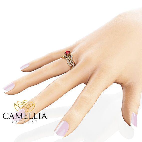Juego de anillo de compromiso de rubí natural boda anillos de