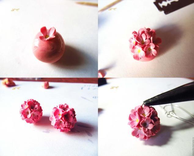 Delicate flower earrings balls - Fair Masters - handmade, handmade