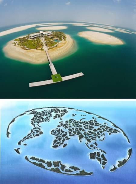 The World Islands project is a group of about 300 man-made islands, an artificial archipelago constructed in the shape of a map of the world located about 6 km off the coast of Dubai, UAE, covering an area of about 55 sq km. #TheIsland #Royalsland