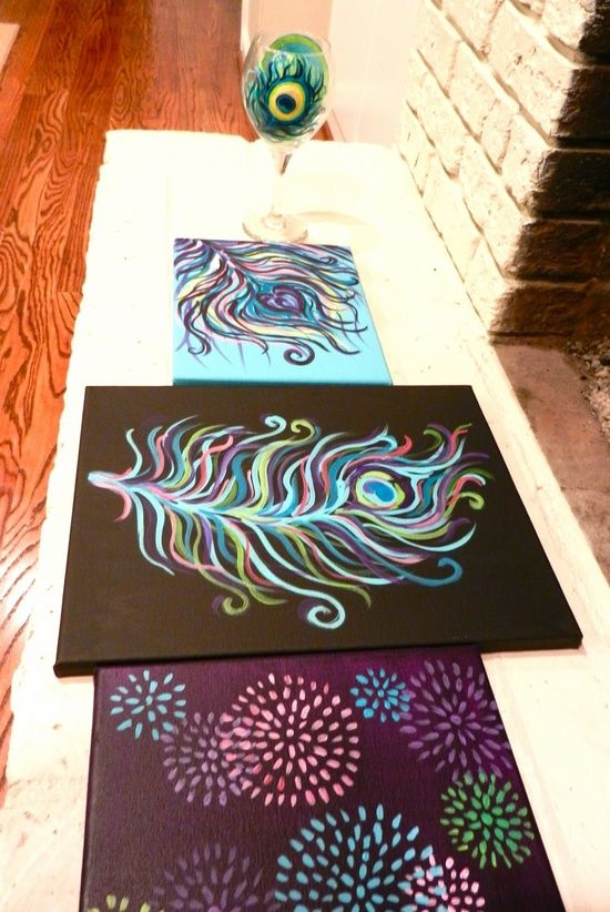 diy peacock paintings-these are so colorful and pretty!