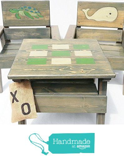 Kids Wood Nautical Table & Chairs, Indoor / Outdoor Furniture, Toddler +, Tic Tac Toe Game, Heirloom Gift, Engraved & Painted Whale & Sea Turtle from Happy Chairs and More https://www.amazon.com/dp/B01B3GIU6A/ref=hnd_sw_r_pi_dp_Nch2xbGFQR3QX #handmadeatamazon