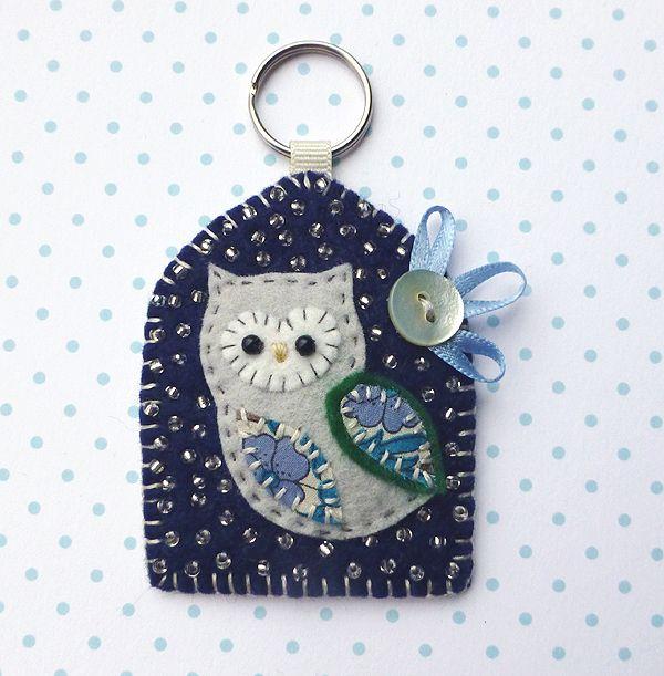Owl Keyring, hand bag charm, hand stitched felt beaded owl in midnight blue